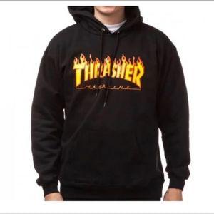 NWT Thrasher Flame Black Hoodie size L